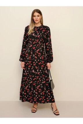 Alia Kadın Siyah Çiçek Desenli Elbise 1461721