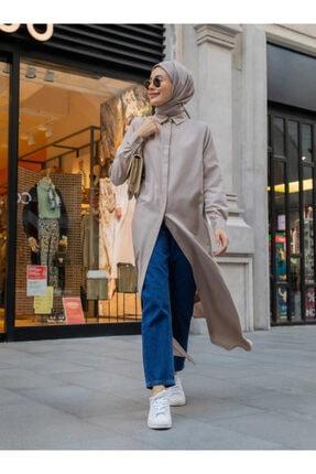 Everyday Basic Kadın Vizon Doğal Kumaşlı Gizli Düğmeli Uzun Gömlek Elbise 1675343