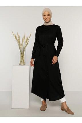 Everyday Basic Kadın Siyah Doğal Kumaşlı Gizli Düğmeli Uzun Gömlek Elbise 1675342