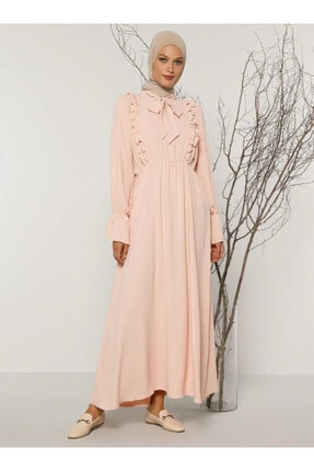 Refka Kadın Pudra Fırfır Detaylı Elbise 1715443