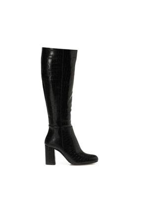 Butigo Kadın Siyah Kroko Ökçeli Topuklu Çizme 20k-320