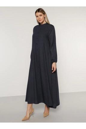 Alia Kadın Lacivert Düğme Detaylı Elbise 1699354