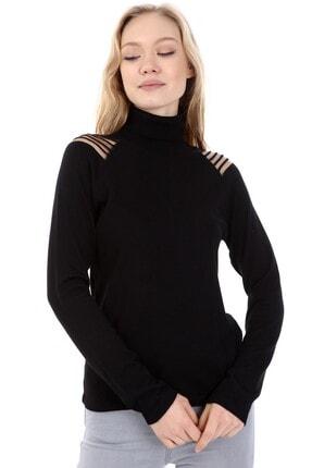 Home Store Kadın Siyah Triko Balıkçı Yaka Reglan Kol Örgülü Saydam Kazak