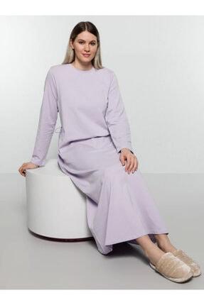 Alia Doğal Kumaşlı Beli Bağcık Detaylı Elbise - Lila -