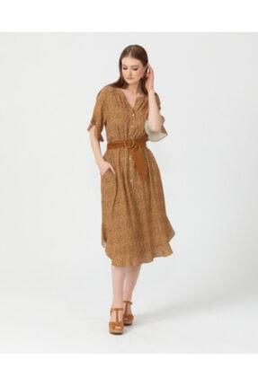 Seçil Kadın Kahverengi Önden Düğmeli Kemer Detaylı Elbise