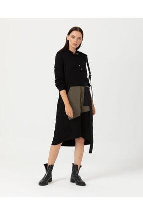 Seçil Kadın Siyah Cep Detaylı Elbise 20k.3577