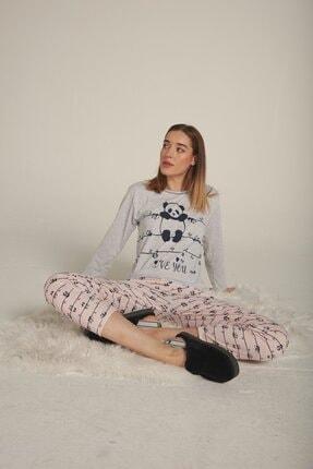 Eka Kadın Gri Panda Baskılı Uzun Kol Pijama Takımı