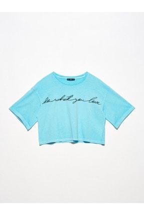 Dilvin Kadın Mavi Baskılı Salaş T-Shirt 101A03537