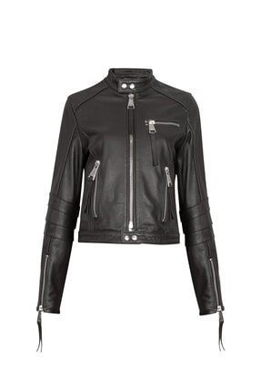 RİVUS Kadın Siyah Salıx Biker Deri Ceket
