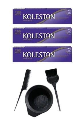 Koleston Tüp Saç Boyası 7.3 3 Adet + Saç Boyama Seti
