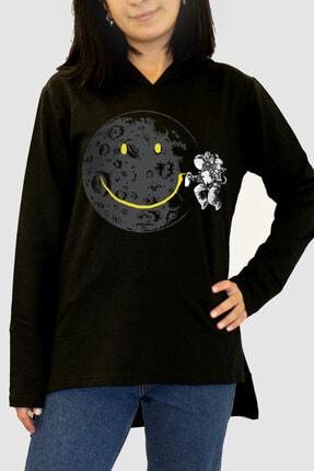 Rock & Roll34 Kadın Siyah Grafitici Astronot Arkası Uzun Yanları Yırtmaçlı  Kapşonlu Sweatshirt