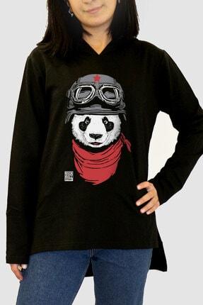 Rock & Roll34 Kadın Siyah Bandanalı Panda Arkası Uzun Yanları Yırtmaçlı Kapşonlu Sweatshirt