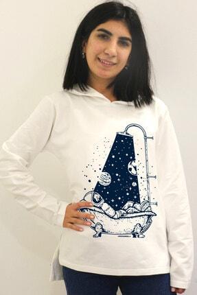 Rock & Roll34 Kadın Ekru Astro Duş Arkası Uzun Yanları Yırtmaçlı Kapşonlu Sweatshirt