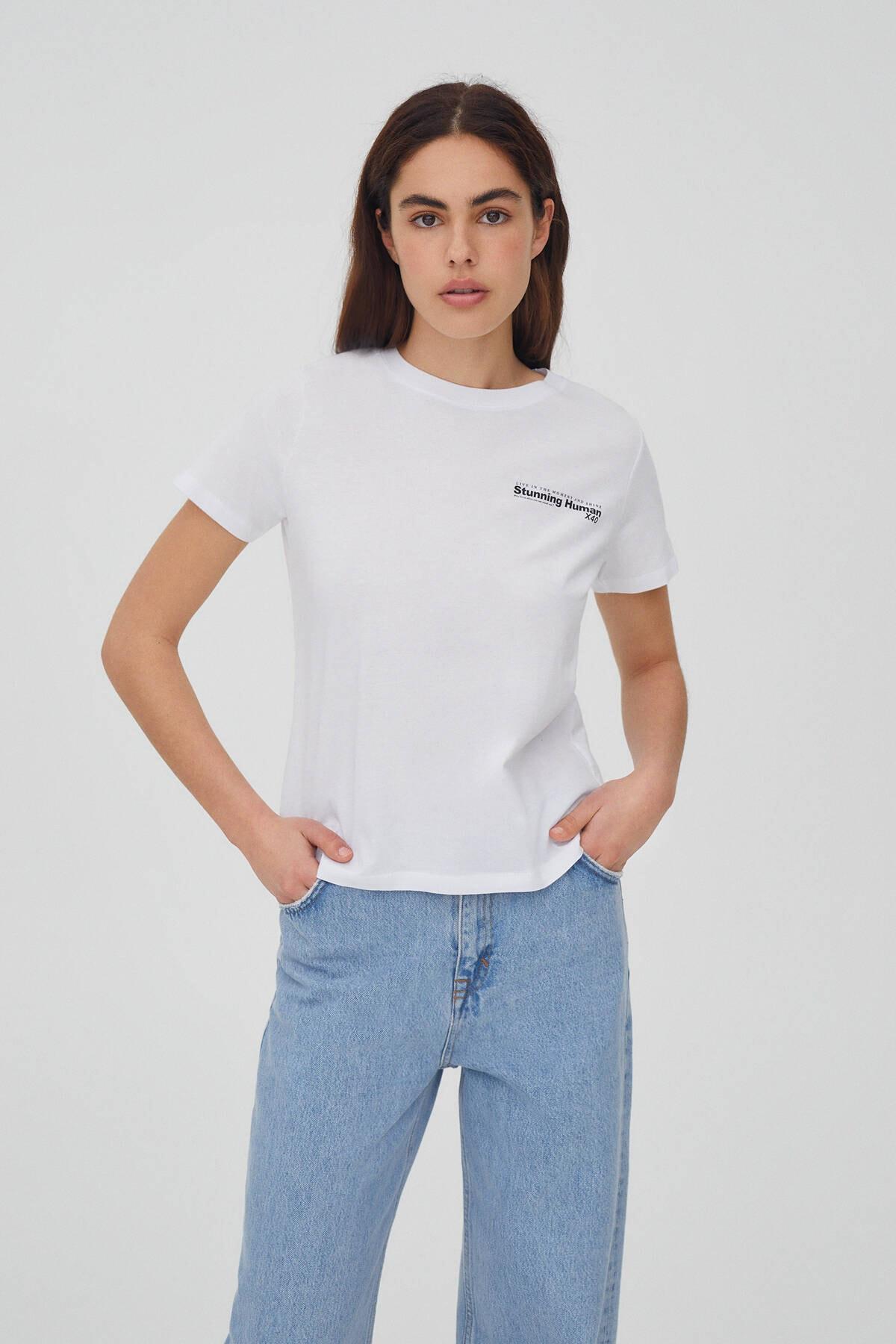 Pull & Bear Kadın Beyaz Kontrast Sloganlı Pamuklu T-shirt