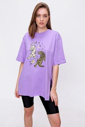 Bigdart Kadın Mor Kaplan Baskılı T-shirt