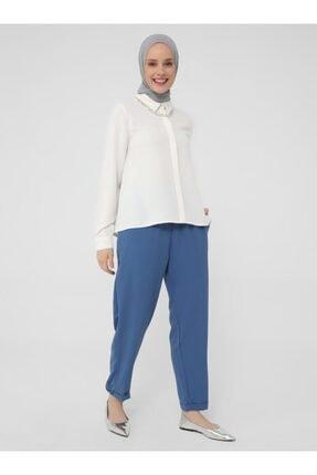 Refka Kadın Koyu Indigo Beli Lastikli Casual Pantolon