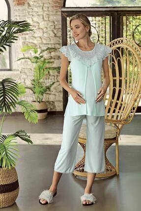 Artış Mint Viskon Lohusa Kapri Pijama Takımı-10218-2