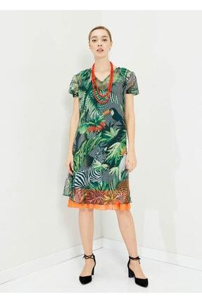 Cazador Kadın Yeşil V Yaka Çiçek Baskılı Elbise