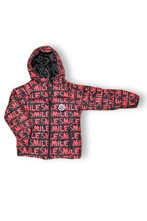 Smiley Unisex Çocuk Kırmızı Smile Baskılı Şişme Mont