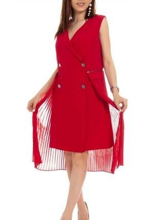Ayhan Kadın Kırmızı Onden Düğmeli Tül Detaylı Elbise