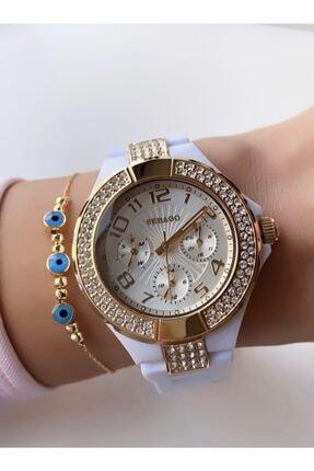 Sebago Beyaz Renk Altın Çerçeve Polikarbon Plastik Fonksiyonlu Kadın Kol Saati