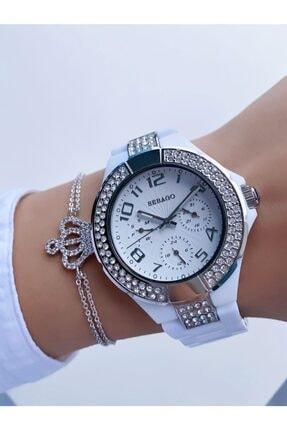 Sebago Beyaz Renk Gümüş Çerçeve Polikarbon Plastik Fonksiyonlu Kadın Kol Saati