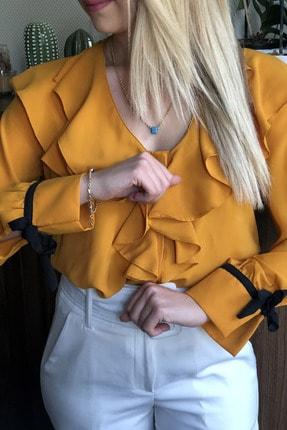 Kadın Sarı Kolları Ip Bağlamalı Fırfırlı Gömlek 003-00-33-17