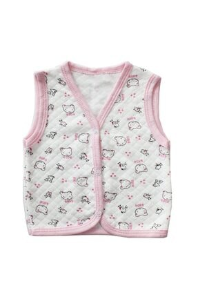 bebegen Unisex Bebek Pembe Biyeli Ayıcıklı Yelek