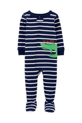 Carter's Erkek Bebek Çizgili Timsah Desenli Tekli Pijama Tulum