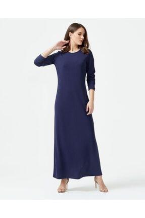 Seçil Kadın Lacivert Yuvarlak Yaka Uzun Boy Elbise