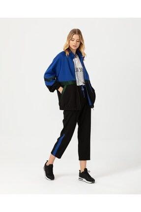 Seçil Kadın Siyah Şerit Detaylı Rahat Kesim Pantolon