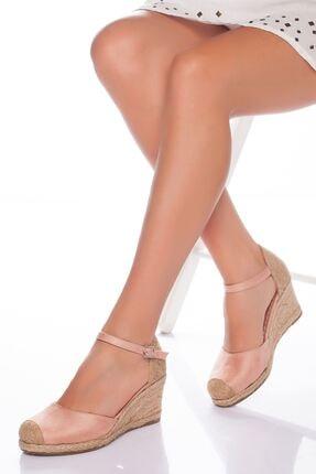 derithy Kadın Pudra Süet Dolgu Topuklu Ayakkabı