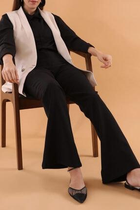 ALLDAY Kadın Siyah Yüksek Bel İspanyol Paça Pantolon
