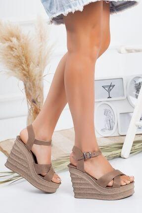 derithy Kadın Vizon Süet Dolgu Topuklu Ayakkabı