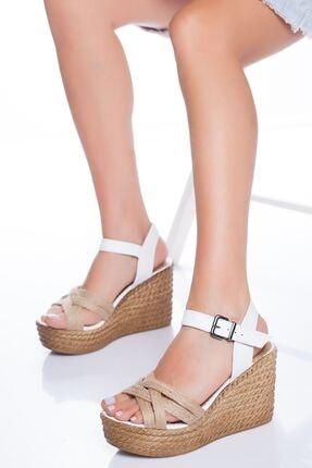 derithy Kadın Beyaz Dolgu Topuklu Ayakkabı