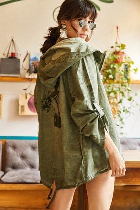 Olalook Kadın Yeşil Sırtı Kız Baskılı Yıkamalı Keten Ceket CKT-19000184
