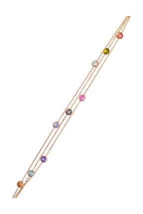 BY BARUN Kadın 925 Ayar Gümüş  Renkli Bileklik - Rose Bl-0055