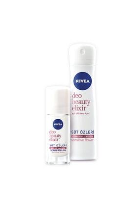 Nivea Deodorant Beauty Elixir Sensitive Flower Bayan Sprey 150 Ml + 40 Ml Roll On Set