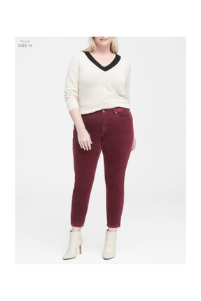 Banana Republic Kadın Bordo Kadife Skinny Pantolon 366597