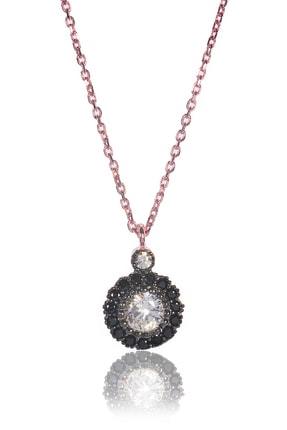 BY BARUN Kadın 925 Ayar Gümüş  Siyah Safir Kolye - Rose Kl-0005