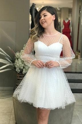 6ixty8ight Kadın Ekru Uzun Kol Tütülü Abiye Elbise 57090