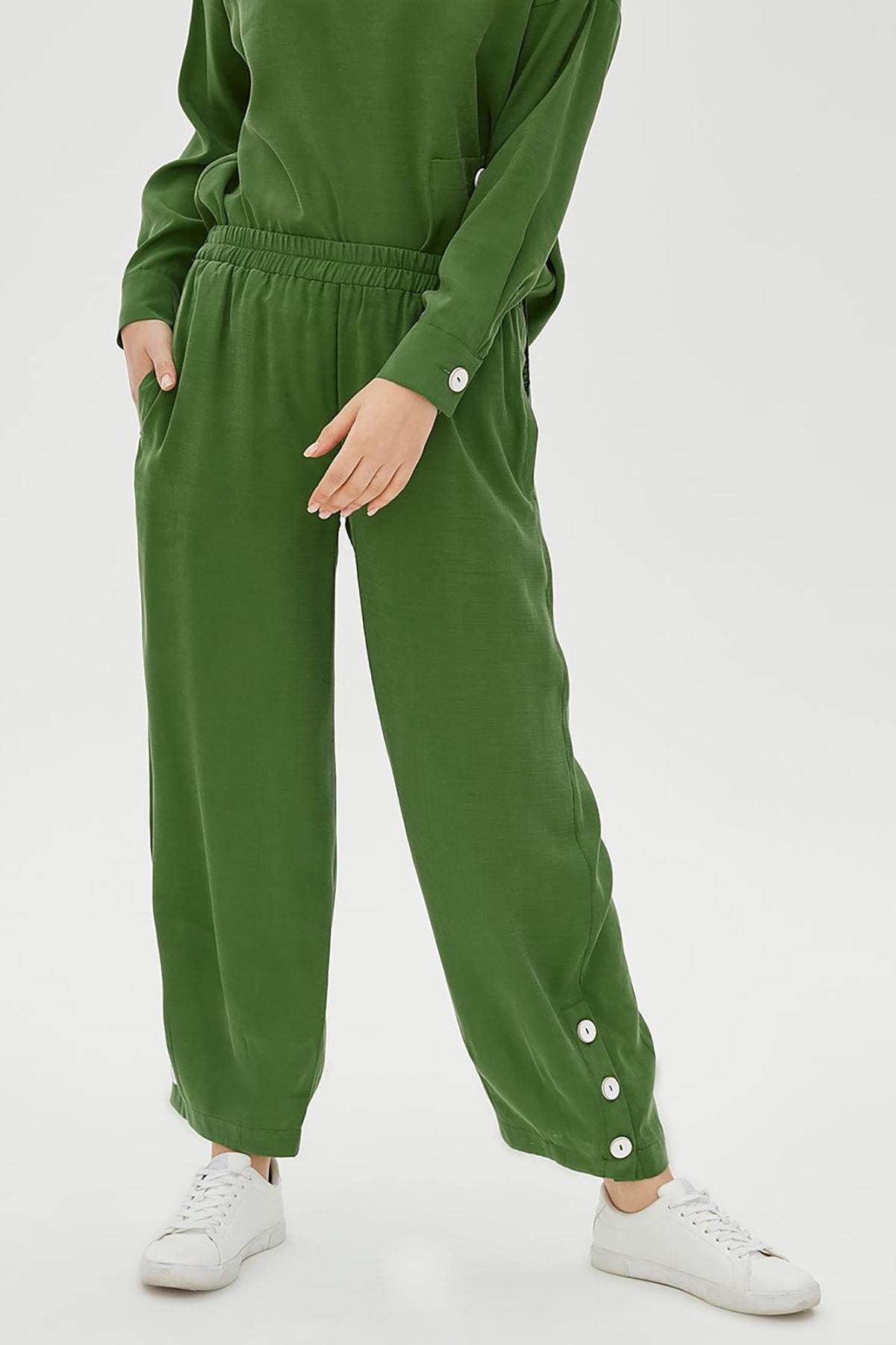 Kayra Kadın Düğme Detaylı 2'Li Takım Yeşil B20 16008
