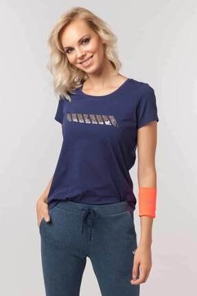 Bilcee Lacivert Likralı Pamuklu Kadın T-Shirt EW-3006