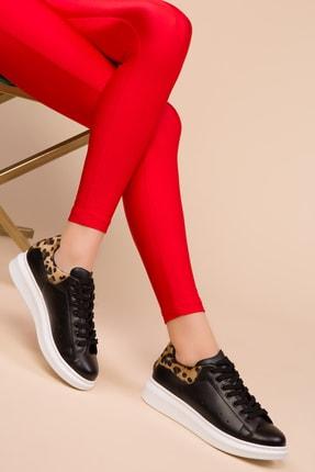 SOHO Sıyah Leopar Kadın Sneaker 13852