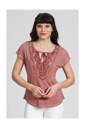 Seamoda Kadın Dantel Detaylı Bağcıklı Tshirt Kiremit