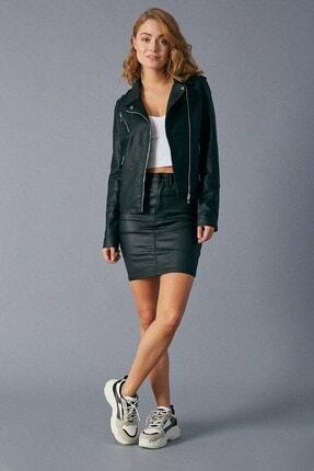 Robin Kadın Siyah Fermuar Detaylı Deri Ceket Siyah D89290-102
