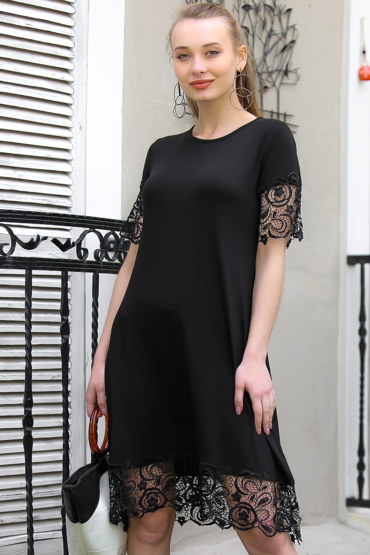 Chiccy Kadın Siyah Vintage Kolları Ve Etek Ucu Gipür Detaylı Elbise M10160000El96872