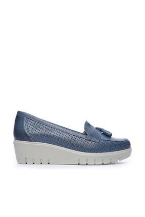 Kemal Tanca Hakiki Deri Mavi Kadın Comfort Ayakkabı 211 7278 BN AYK