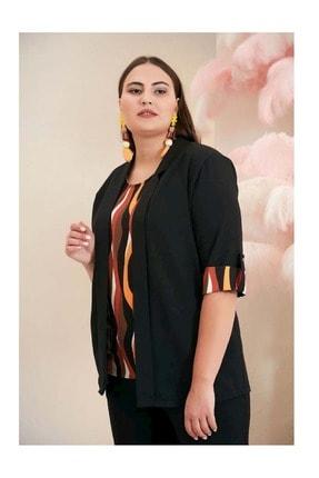 Rmg Kadın Bluz Ve Ceket Ikili Takım Siyah