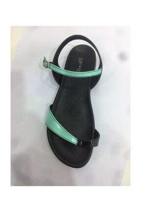 Ceyo 9833-32 Siyah Yeşil Rugan Bayan Anatomik Baş Parmak Arası Sandalet